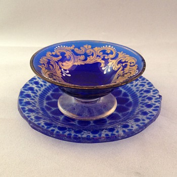 Cobalt Bowl and plate with gold trim