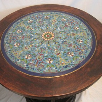 Chinese Tea Table with Cloisonne vase.