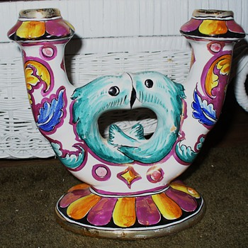 Handpainted Kissing Fish Candleholder