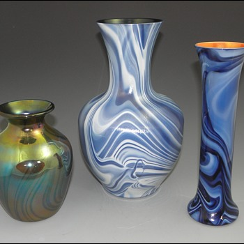 "Imperial Lead Lustre Vases with ""Marbleized"" Decors - Imperial Glass Company, Bellaire, Ohio, 1925-26 - Art Glass"