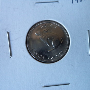 Hopping Rabbit Canadian 1967 Nickel 5-cent Coins - World Coins