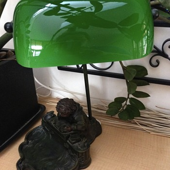 Green Banker Lamp with Brass base