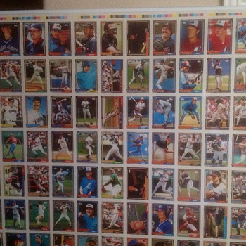 1992 Topps Baseball uncut Proof sheet  - Baseball