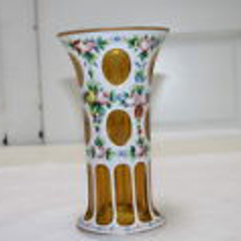 Czech art glass enameled white cut to amber vase