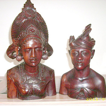 Vintage Mayan? Aztec? Asian? Wood Bust Carvings Circa 1925 - Asian