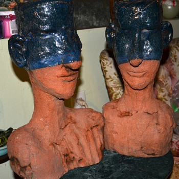 Terracotta Heads - half-blue - Art Pottery