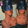 Terracotta Heads - half-blue