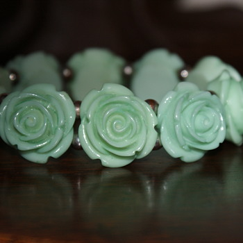 Plastic Rosebuds Stretch Bracelet - Costume Jewelry