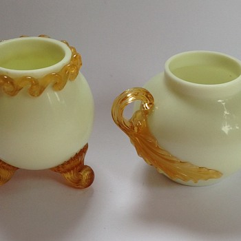 Victorian custard glass miniature vases with applied decoration
