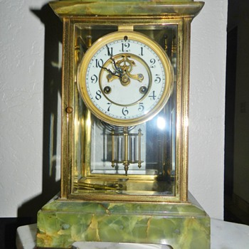 Old Waterbury Calcite Housing Mantle Clock - Clocks