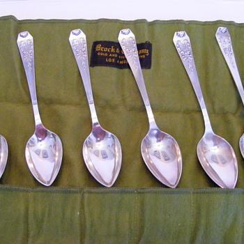Set of 6 Brock & Co. silver spoons - Sterling Silver