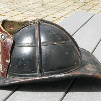 Antique leather firefighting helmet - Firefighting