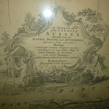 map of sussex england 1731 - Paper