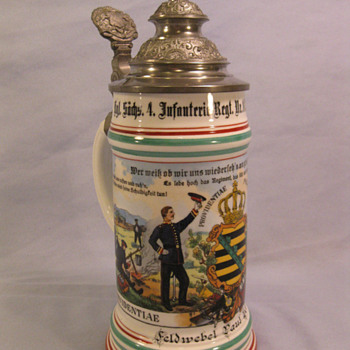 Imperial German Souvenier Stein of Feldwebel Paul Geickler who served in the 103rd (4th Royal Saxon) Infantry Regiment. - Breweriana
