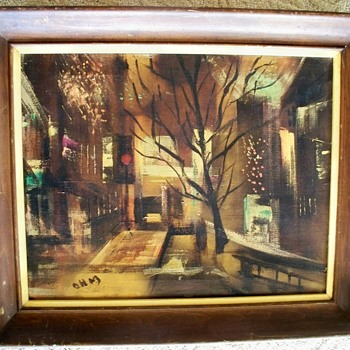 Original Surrealism Painting   w/  Intitials: OHM  or OWM? - Visual Art