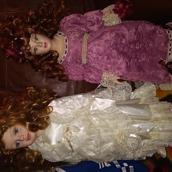 Porcelain doll in white dress - Dolls