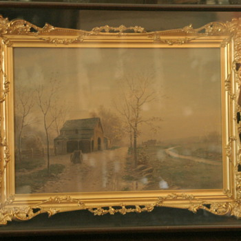 beautiful European watercolor in gilt shadow box frame