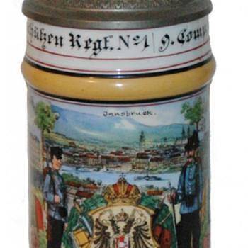 "Rare Austro-Hungarian Empire Reservist's Stein of Alois Gruber, ""Zugsfuhrer""-(Platoon Leader - Breweriana"