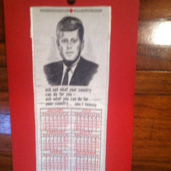John F. Kennedy 1962 bookmark/calendar from National Woven Lable, co. - Advertising