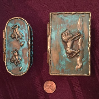 Two metal trinket boxes from Mexico