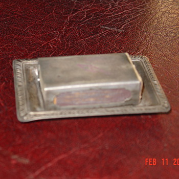 Sterling Match Box Holder With Sterling Tray