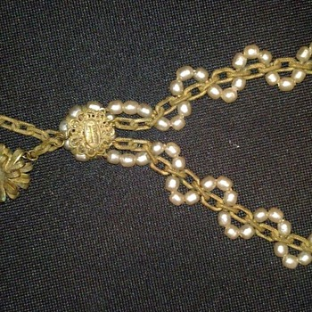 Vintage Miriam Haskell Two Flower Necklace - Costume Jewelry