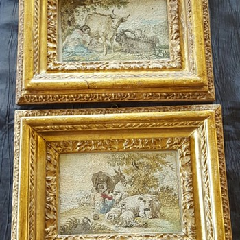 Pair of 18th century needle paintings. - Rugs and Textiles