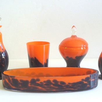 CZECH GLASS; RUCKL TOILET/VANITY SET. - Art Glass