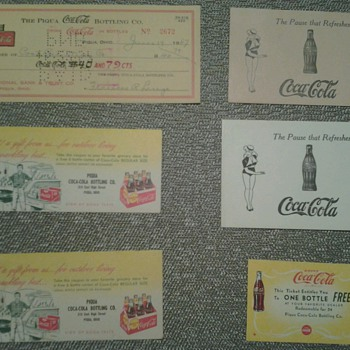 Various Coca Cola Paper Items