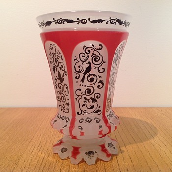 Bohemian Beaker Two Colour Silver Decoration - Art Glass