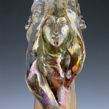 Jean Baptiste Gaziello Iridescent Symbolist / Art Nouveau Ceramic Vase