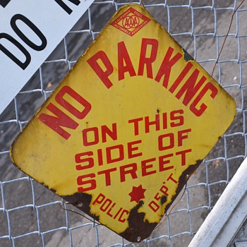 Old Porcelain Sign - No Parking on this Side of Street - Police Department - Signs