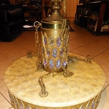 Vintage brass swag lamp with attached Scalloped capiz table