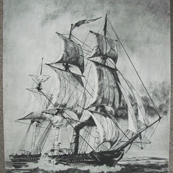 A Charcoal drawing of the SS Savannah. - Visual Art