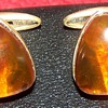 soviet union gold and amber cufflinks 