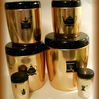 Vintage WEST BEND ( or WESTBEND) CANISTER SET ---> Anodized Colored Aluminum - Kitchen