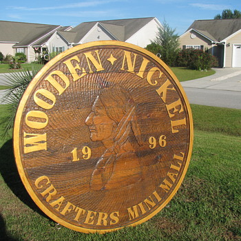 Handcrafted Wooden Nickel Road Sign - Signs