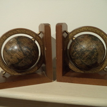 Vintage Wooden Globe Bookends - Books