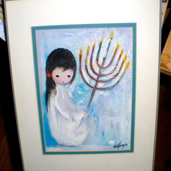 "Happy Hanukkah!  ""Festival Of Lights"" by Ettore ""Ted"" DeGrazia Original 1976 Print - Visual Art"