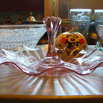 Pink Depression Glass Tidbit Tray