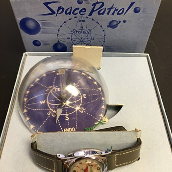 Buzz Corey's Space Patrol Wrist Watch with compass in original box - Wristwatches