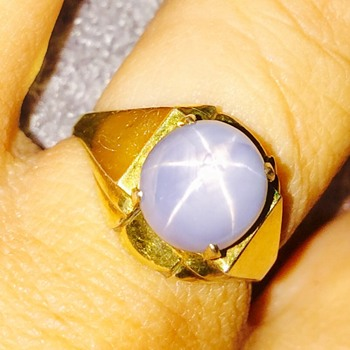 Antique Ar Deco Blue Star Sapphire 9ct Gold Ring - Fine Jewelry