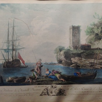 Estate Sale Print French Scene, Bertaud Sculp and J. Vernet names on bottom