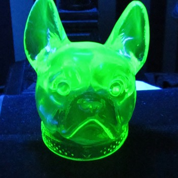 Vaseline Glass &#039;Bull Dog&#039;s Head&#039; Candy Container from Boyd&#039;s Crystal Art Glass