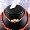 Georgian Red Coral Necklace with Gold Fede Betrothal Clasp