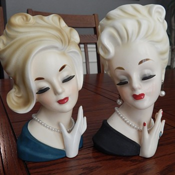 Ready for a night out on the town - lady head vases