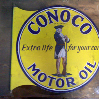 1920's Conoco Motor Oil sign w/ Minuteman - Signs