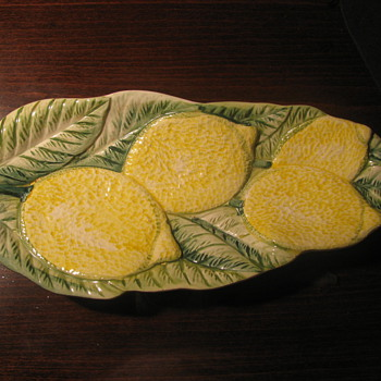 Leaf Dish with Lemons - Art Pottery