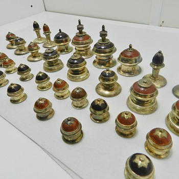 Antique Chess Set - STERLING SILVER &amp; Wood - Origins? - Games