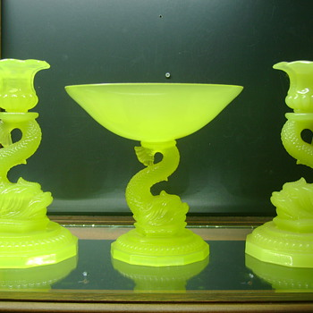 Opaline Yellow Vaseline Portieux Vallerystahal Compote and Candle Sticks